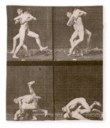 Two Men Wrestling Fleece Blanket