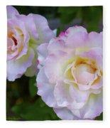 Two White Roses Fleece Blanket