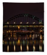 Tyne Bridge At Night Fleece Blanket