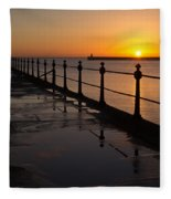 Tynemouth Pier Sunrise Fleece Blanket