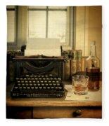 Typewriter And Whiskey Fleece Blanket