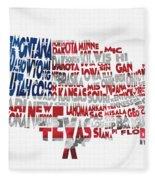 United States Typographic Map Flag Fleece Blanket