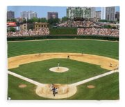 Usa, Illinois, Chicago, Cubs, Baseball Fleece Blanket