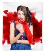 Valentines Day Woman Eating Heart Candy Fleece Blanket
