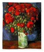 Vase With Red Poppies Fleece Blanket