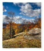 View From The Eagle Bay Rocks Fleece Blanket