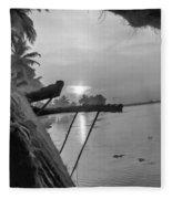 View Of Sunrise From Boat Fleece Blanket