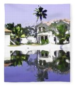 View Of The Cottages And Lagoon Water In Alleppey Fleece Blanket