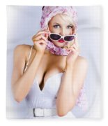 Vintage Blond Beauty In Pinup Fashion Accessories Fleece Blanket