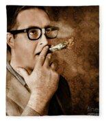 Vintage Business Man Smoking Money In Success Fleece Blanket