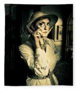 Vintage Explorer With Magnifying Glass Fleece Blanket