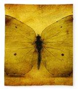 Vintage Grunge Butterfly Fleece Blanket