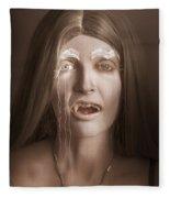 Vintage Halloween Portrait. Gothic Vampire Girl Fleece Blanket