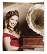 Vintage Pin-up Girl Listening To Record Player Fleece Blanket