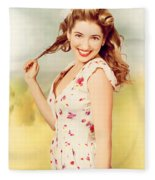 Vintage Pinup Woman With Pretty Make-up And Hair Fleece Blanket