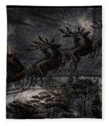 Vintage Santa Stormy Midnight Ride Reindeer Sleigh Fleece Blanket