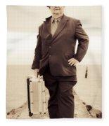 Vintage Traveling Business Man Fleece Blanket