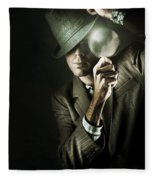 Vintage Undercover Spy On Dark Background Fleece Blanket