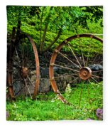 Vintage Wagon Wheel Gate Fleece Blanket