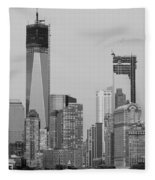 1 W T  C  And Lower Manhatten In Black And White Fleece Blanket