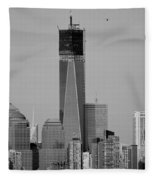 1 W T C Helos And Boats In Black And White Fleece Blanket