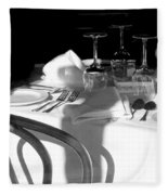 Waiting For Diners Bw Fleece Blanket