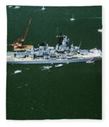 War Ship In New York Harbor, New York Fleece Blanket