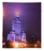Warsaw Poland Downtown Skyline At Night Fleece Blanket