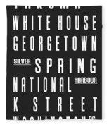 Washington City Subway Sign Fleece Blanket