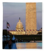 Washington D.c. - Us Flags With Cropped Fleece Blanket