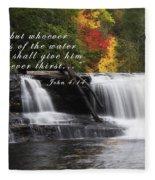 Waterfall With Scripture Fleece Blanket