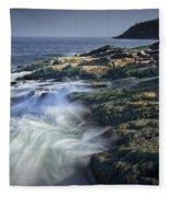 Waves Crashing Against The Shore In Acadia National Park Fleece Blanket