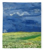 Wheatfield Under Thunderclouds Fleece Blanket