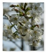 White Cherry Blossoms Fleece Blanket
