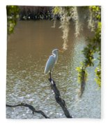 White Heron In Magnolia Cemetery Fleece Blanket