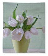 White Tulips  Fleece Blanket