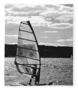 Wind Surfer Bw Fleece Blanket