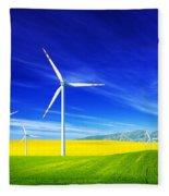 Wind Turbines On Spring Field Fleece Blanket