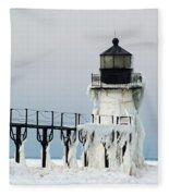 Winter At St Joseph's Light Fleece Blanket