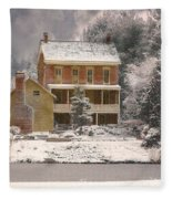 Winter Farm House Fleece Blanket
