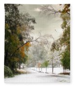 Winter In Autumn Fleece Blanket