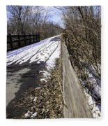 Winter On Macomb Orchard Trail Fleece Blanket
