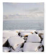 Winter Shore Of Lake Ontario Fleece Blanket