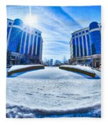 Winter Street Scenes Around Piedmont Town Centre Charlotte Nc Fleece Blanket