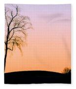 Winter Sunset Tree Fleece Blanket