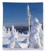 Winter View Of Snow Covered Trees Fleece Blanket