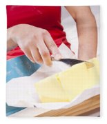 Woman Cooking Fleece Blanket