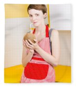 Woman Drinking Coconut Milk In Kitchen Fleece Blanket