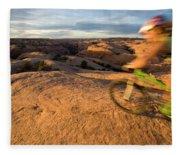 Woman Mountain Biking, Moab, Utah Fleece Blanket