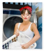 Woman Washing Clothes Fleece Blanket